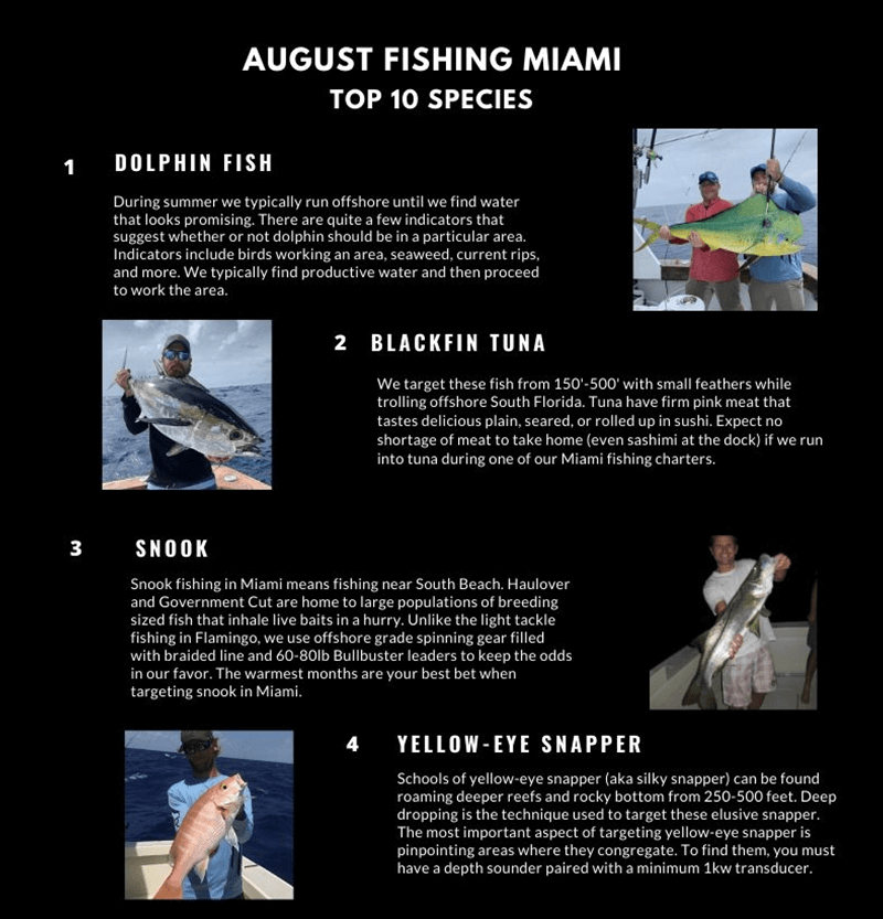 August Fishing Calendar Miami