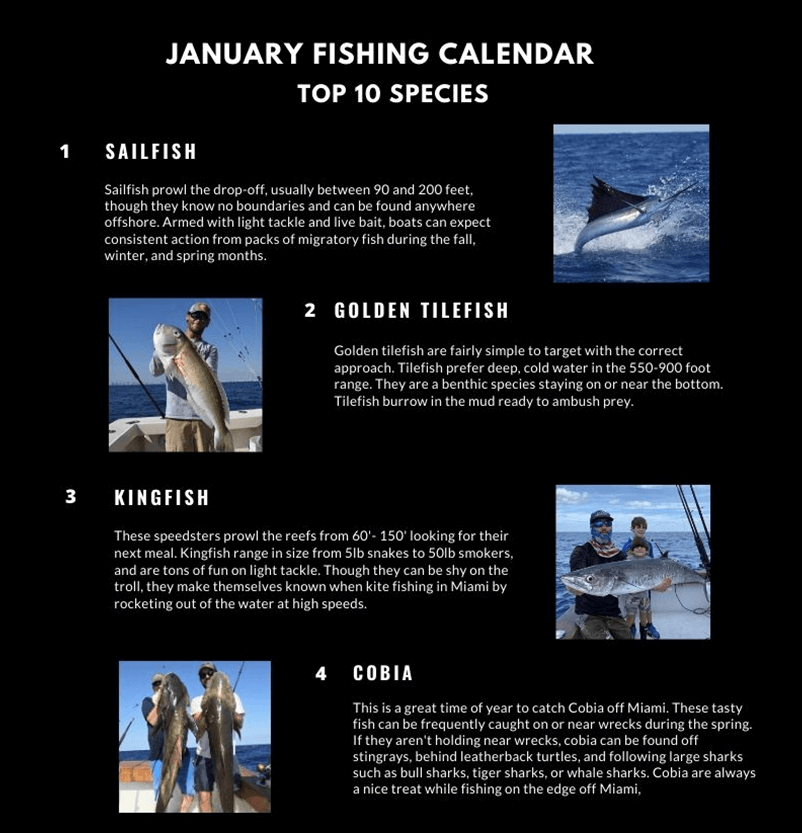 January Fishing Calendar Miami