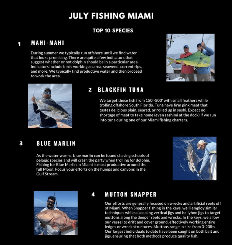 July Fishing Calendar